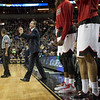 Head Coach Rick Pitino of the Louisville Cardinals gives instructions to his players against the Northern Iowa Panthers during the third round of the 2015 NCAA Men's Basketball Tournament at KeyArena on Sunday, March 22, 2015 in Seattle, Wash. Louisville won, 66-53.