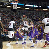 Terry Rozier (0) of  the Louisville Cardinals puts up a shot against the Northern Iowa Panthers during the third round of the 2015 NCAA Men's Basketball Tournament at KeyArena on Sunday, March 22, 2015 in Seattle, Wash. Louisville won, 66-53.