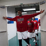 Jaylen Johnson (10) of the Louisville Cardinals walks out of the locker room before their game against the Northern Iowa Panthers during the third round of the 2015 NCAA Men\'s Basketball Tournament at KeyArena on Sunday, March 22, 2015 in Seattle, Wash.
