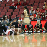 Myisha Hines-Allen and South Florida\'s Katelyn Weber battled for a loose ball on the floor in the fourth quarter.