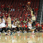 South Florida\'s Courtney Williams took a 3-point shot in the fourth quarter. Williams scored 25 points and had 10 rebounds while playing all 40 minutes.