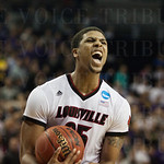 Wayne Blackshear (25) of the Louisville Cardinals celebrates after Terry Rozier (0) forced the game-winning turnover against the UC Irvine Anteaters during the second round of the 2015 NCAA Men\'s Basketball Tournament at Key Arena on Friday, March 20, 20