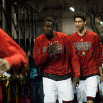 Mangok Mathiang of the Louisville Cardinals walks from the locker room to the court before playing the UC Irvine Anteaters during the second round of the 2015 NCAA Men\'s Basketball Tournament at Key Arena on Friday, March 20, 2015 in Seattle, Wash. Louis