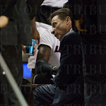 Head Coach Rick Pitino of the Louisville Cardinals talks to his team during a timeout against the UC Irvine Anteaters during the second round of the 2015 NCAA Men\'s Basketball Tournament at Key Arena on Friday, March 20, 2015 in Seattle, Wash. Louisville