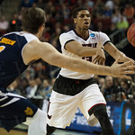 Wayne Blackshear (25) of the Louisville Cardinals passes against the UC Irvine Anteaters during the second round of the 2015 NCAA Men\'s Basketball Tournament at Key Arena on Friday, March 20, 2015 in Seattle, Wash. Louisville won, 57-55.