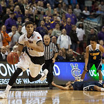 Wayne Blackshear (25) of the Louisville Cardinals runs towards the basket after Terry Rozier (0) forced the game-winning turnover against the UC Irvine Anteaters during the second round of the 2015 NCAA Men\'s Basketball Tournament at Key Arena on Friday,