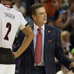 Head Coach Rick Pitino of the Louisville Cardinals reacts to a referee\'s call against the UC Irvine Anteaters during the second round of the 2015 NCAA Men\'s Basketball Tournament at Key Arena on Friday, March 20, 2015 in Seattle, Wash. Louisville won, 5