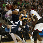 Will Davis II (3) of the UC Irvine Anteaters grabs a rebound against Louisville Cardinals during the second round of the 2015 NCAA Men\'s Basketball Tournament at Key Arena on Friday, March 20, 2015 in Seattle, Wash. Louisville won, 57-55.