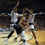 Wayne Blackshear (25) and of Quentin Snider (2) of the Louisville Cardinals guard Luke Nelson (10) of the UC Irvine Anteaters during the second round of the 2015 NCAA Men\'s Basketball Tournament at Key Arena on Friday, March 20, 2015 in Seattle, Wash. Lo