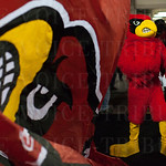 The Louisville Cardinals prepares to lead the student athletes onto the court before playing the UC Irvine Anteaters during the second round of the 2015 NCAA Men\'s Basketball Tournament at Key Arena on Friday, March 20, 2015 in Seattle, Wash. Louisville