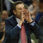 Head Coach Rick Pitino of the Louisville Cardinals gives his players instructions against the UC Irvine Anteaters during the second round of the 2015 NCAA Men\'s Basketball Tournament at Key Arena on Friday, March 20, 2015 in Seattle, Wash. Louisville won