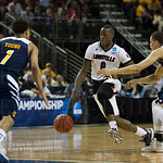Terry Rozier (0) of the Louisville Cardinals against the UC Irvine Anteaters during the second round of the 2015 NCAA Men\'s Basketball Tournament at Key Arena on Friday, March 20, 2015 in Seattle, Wash. Louisville won, 57-55.