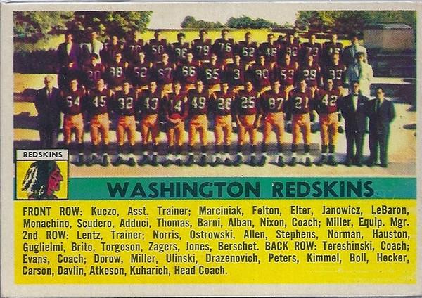 Redskins Team Card 1956 Topps