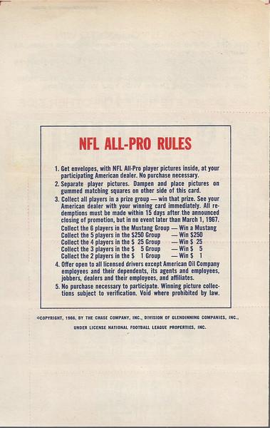 1966 Amoco Game Sheet Back