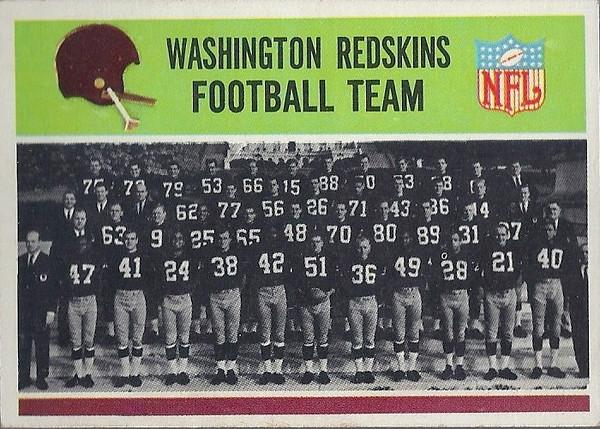 Redskins Team Card 1965 Philadelphia