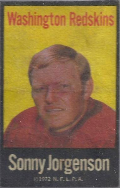 Sonny Jurgensen 1972 NFLP Iron-Ons Error Variation