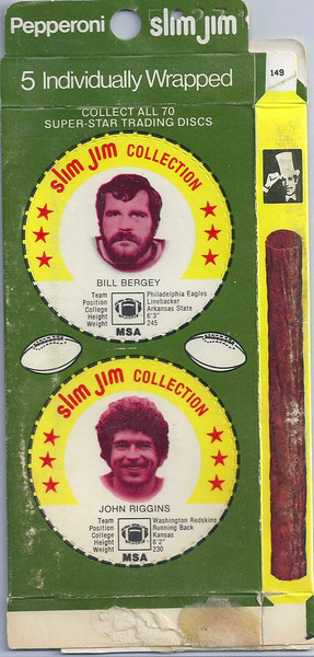 John Riggins 1978 Slim Jim Discs Box Green Variation