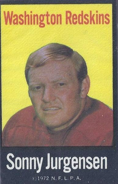 Sonny Jurgensen 1972 NFLP Iron-Ons