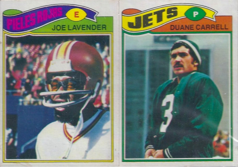 Joe Lavender 1977 Topps Mexican two card panel
