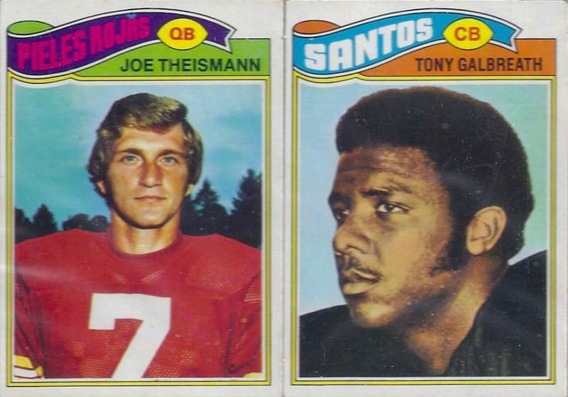 Joe Theismann 1977 Topps Mexican two card panel