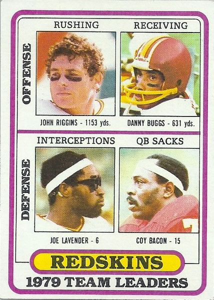 Redskins Team Leaders 1980 Topps