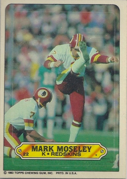 Mark Moseley 1983 Topps Sticker Inserts