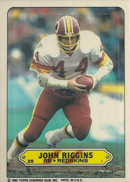 John Riggins 1983 Topps Sticker Inserts