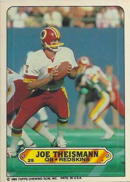 Joe Theismann 1983 Topps Sticker Inserts