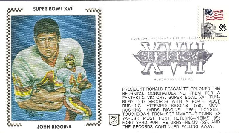 John Riggins 1983 Z Cachet Envelope