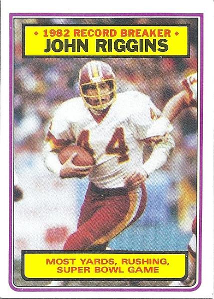 John Riggins Record Breaker 1983 Topps