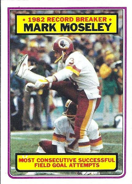 Mark Moseley Record Breaker 1983 Topps