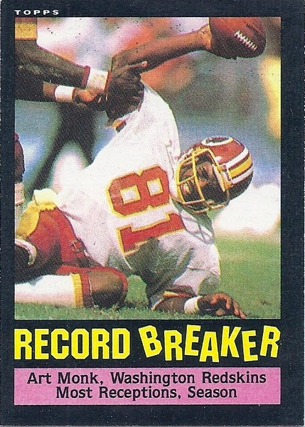 Art Monk Record Breaker 1985 Topps