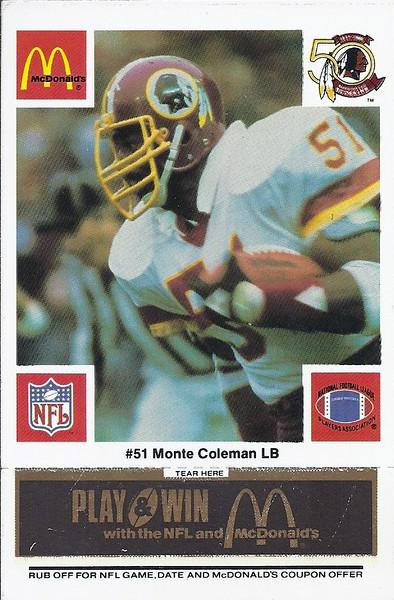 Monte Coleman 1986 McDonald's Black Tab
