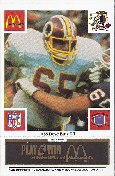 Dave Butz 1986 McDonald's Black Tab