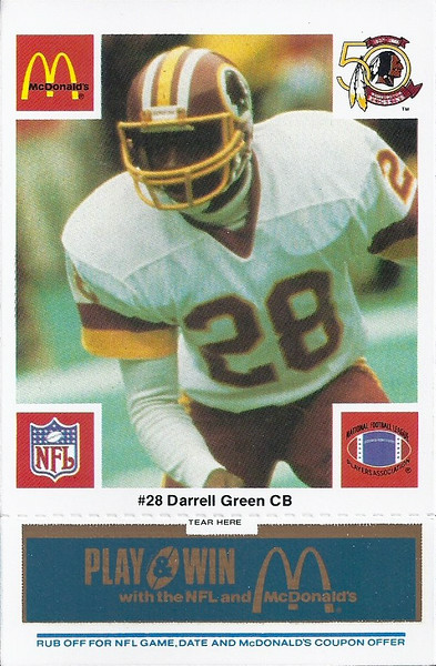 Darrell Green 1986 McDonald's Blue Tab