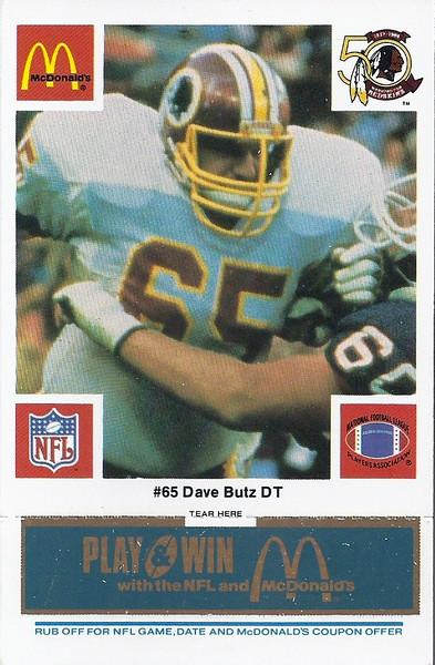 Dave Butz 1986 McDonald's Blue Tab