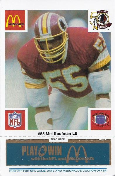 Mel Kaufman 1986 McDonald's Blue Tab