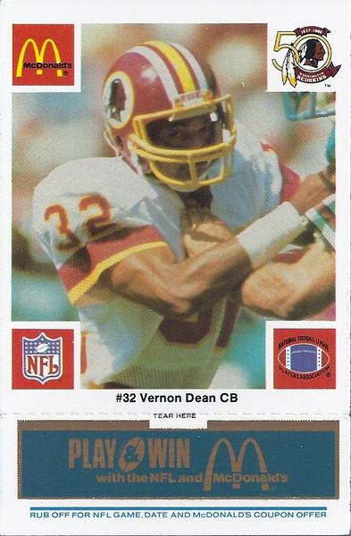Vernon Dean 1986 McDonald's Blue Tab