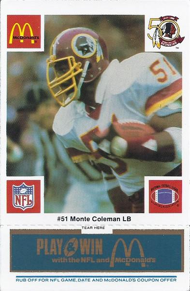 Monte Coleman 1986 McDonald's Blue Tab