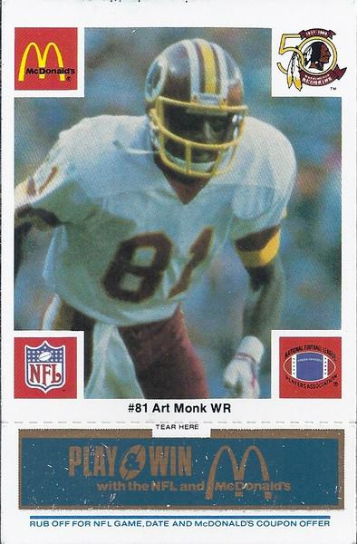 Art Monk 1986 McDonald's Blue Tab