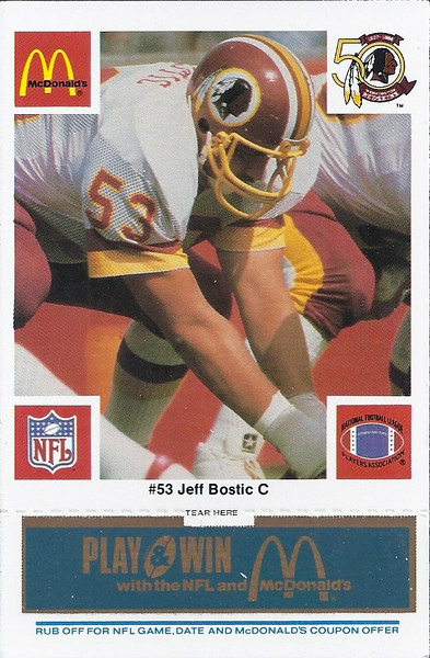 Jeff Bostic 1986 McDonald's Blue Tab