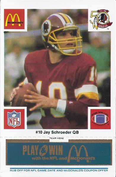Jay Schroeder 1986 McDonald's Blue Tab