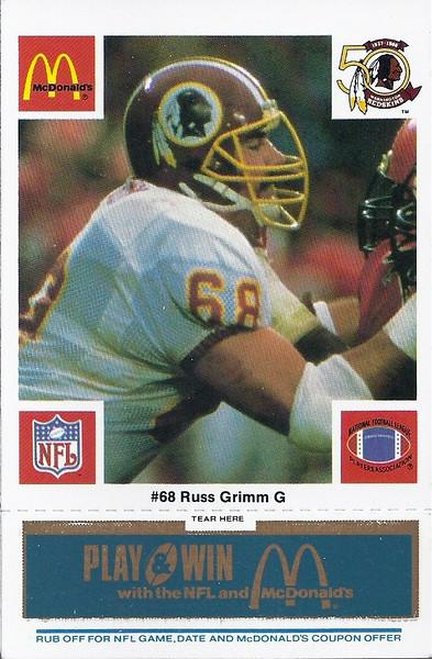 Russ Grimm 1986 McDonald's Blue Tab