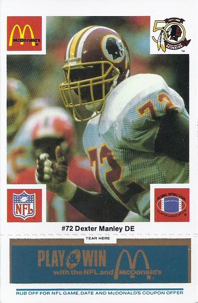 Dexter Manley 1986 McDonald's Blue Tab