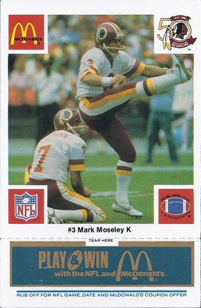 Mark Moseley 1986 McDonald's Blue Tab