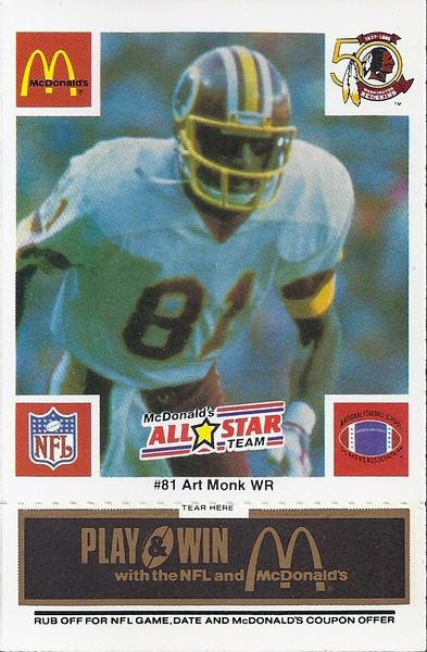 Art Monk 1986 McDonald's National All-Star Black