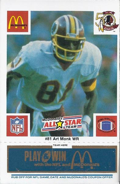 Art Monk 1986 McDonald's National All-Star Blue