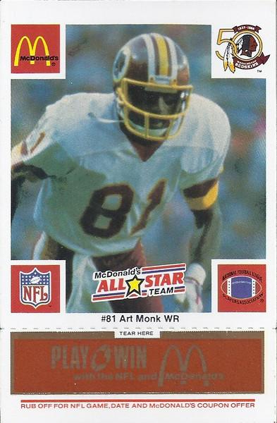 Art Monk 1986 McDonald's National All-Star Orange