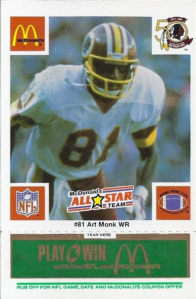 Art Monk 1986 McDonald's National All-Star Green