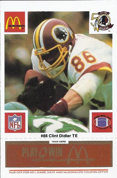 Clint Didier 1986 McDonald's Orange